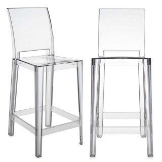 Pair of Kartell One More Please Counter Stools, Crystal