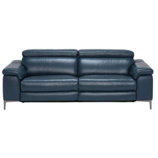 Paolo Leather 3.5 Seater Recliner Sofa, Melbourne Navy Blue M5661