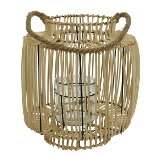 Rattan and Glass Lantern with Handle, Natural