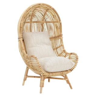 Rafael Chair and Cushion With Natural Rattan with Jasper Fabric