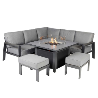 Rio Garden Corner Set with Fire Pit in Charcoal Grey Frame with Slate Grey Cushions
