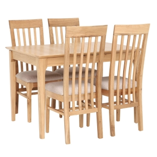 Stanwick Extending Dining Table and 4 Slat Back Dining Chairs