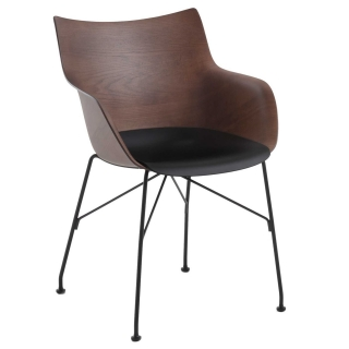 Kartell Smartwood Dining Chair with Arms, Dark Wood with Black seat