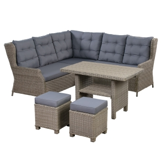 Southwold Corner Garden Dining Set with Rising Table in Natural Weave and Seal Fabric
