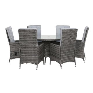 Tiverton 6 Seat Round Garden Dining Set in Grey Weave with Grey Fabric