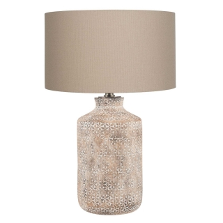 Textured Floral Etched Table Lamp