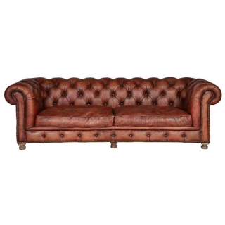 Timothy Oulton Westminster Feather 3 Seater Chesterfield Sofa, Vagabond Red