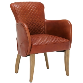 Timothy Oulton Side Saddle Leather Chair, Vagabond Red and Oak