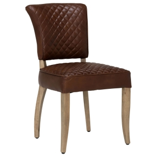 Timothy Oulton Mimi Quilted Leather Dining Chair, Antique Whisky
