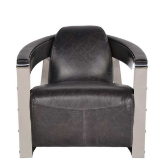 Timothy Oulton Mars MK3 Chair, Old Saddle Black with Shiny Steel