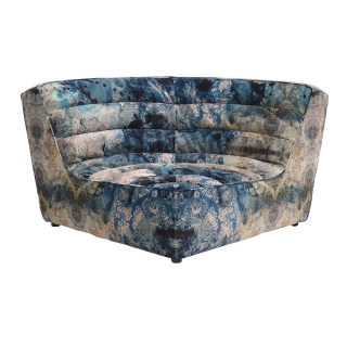 Timothy Oulton Shabby Sectional Corner, Faded and Degraded Melting Paisley