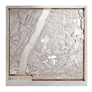 Timothy Oulton Lit New York Map, Brushed Steel