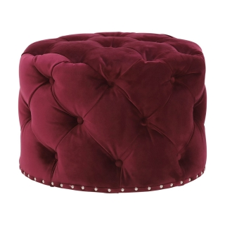 Timothy Oulton Lord Digsby Small Round Footstool, Revival Velvet Ruby