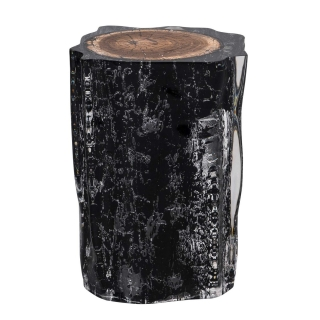 Timothy Oulton Floem Side Table, Burnt Wood and Acrylic