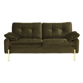 Tristan 2 Seater Sofa, Lush Velvet Green With Gold Feet And Trim