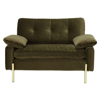 Tristan Snuggle Chair, Lush Velvet Green With Gold Feet And Piping