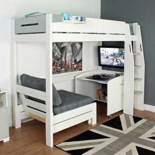 Urban Grey Childrens Highsleeper Bed with Desk and Futon