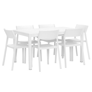 Varuna Extending Garden Dining Table and 6 Calisto Dining Chairs in Bianco