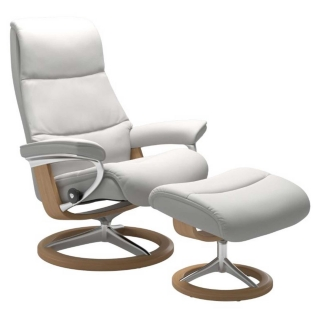 Stressless View Signature Chair & Stool, Choice of Leather