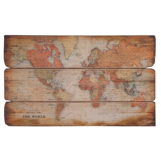 Large Wooden World Map Plaque