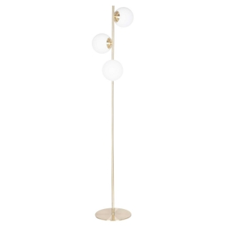 Orb Floor Lamp, White and Brushed Brass