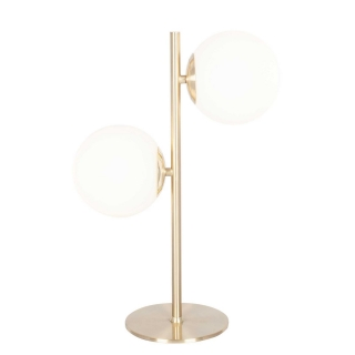 Orb Table Lamp, White and Brushed Brass