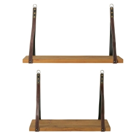 Pair of Hanging Wood Shelves with Leather brackets