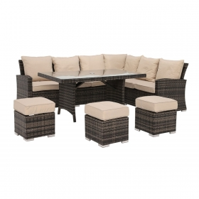 Beadnell Corner Garden Dining Set in Brown Weave and Beige Fabric