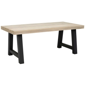Beach Garden Dining Table, Graphite And Aged Teak