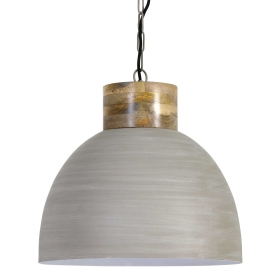 Dome Pendant, Grey and Wood