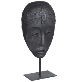 Carved Zig Zag Mask with Stand, Black