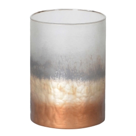 Frosty Ombre Glass Hurricane, Copper