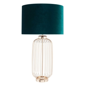 French Wire Tall Table Lamp, Green Velvet