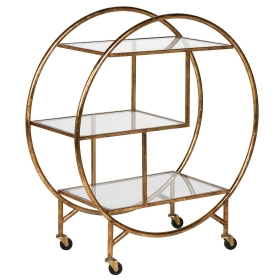 Three Tier Trolley, Glass and Gold