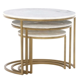 Gower Marble Set Of Tables, Gold