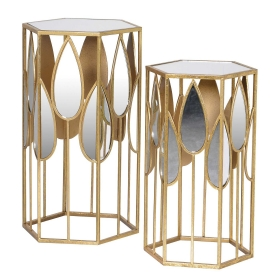 Pair of Hexagonal Mirrored Side Tables, Gold and Mirrored