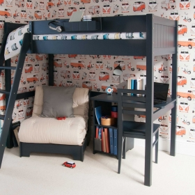 Pippin Childrens Highsleeper with Futon And Storage Desk