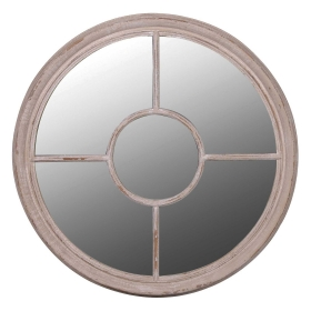 Round Taupe Mirror, Taupe