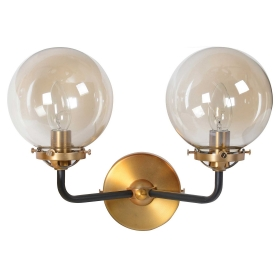 Double Ball Wall Sconce, Smoked