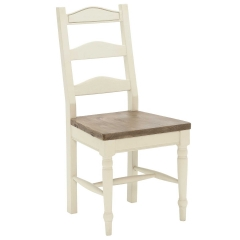 Carisbrooke Dining Chair with Turned Legs and Wooden Seat, Stucco White
