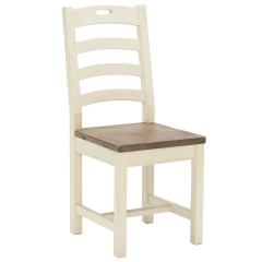 Carisbrooke Dining Chair with Square Legs and Wooden Seat, Stucco White
