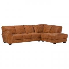 New Houston Large Right Hand Facing Leather Chaise Sofa, Hewlett Ranch