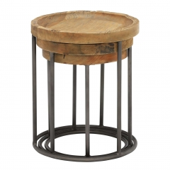 Keeler Set Of 3 Reclaimed Round Tables