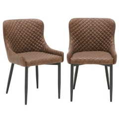 Pair of Rivington Faux Leather Dining Armchairs, Dark Brown