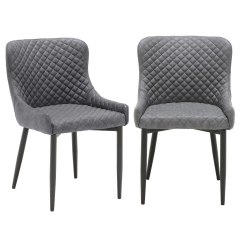 Pair of Rivington Faux Leather Dining Armchairs, Vintage Grey