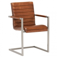 Brutus Chair, Vintage Leather Dining Chair, Light Brown