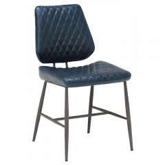 Hawley Quilted Dining Chair, Dark Blue