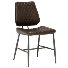Hawley Quilted Dining Chair, Dark Brown