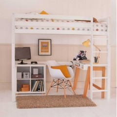Buddy Childrens Beech Highsleeper Loft Bed With Desk and Storage Bookcase