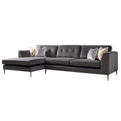 Conza Large Left Hand Facing Standard Back Chaise Sofa, Plush Charcoal